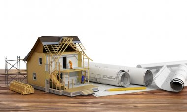 Concept of construction. 3d render of house in building process
