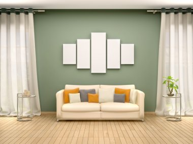 3d illustration of blank canvas above the sofa in the interior