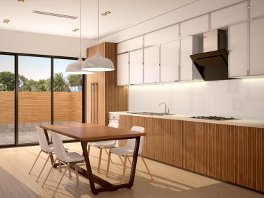 3d illustration of Modern kitchen interior and dining room in a