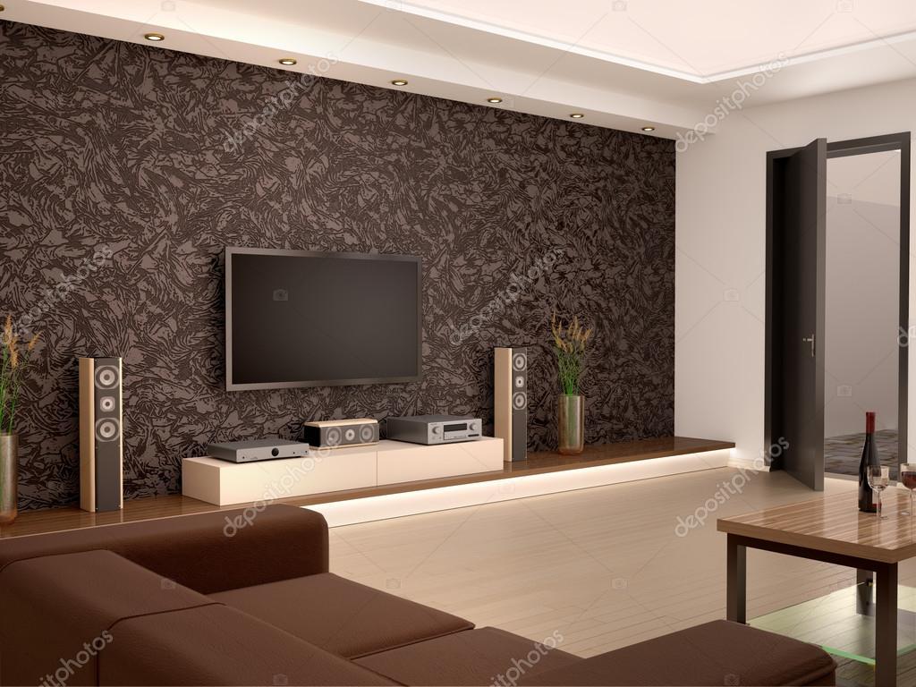 Modern Gezellig Interieur : D illustratie van interieur modern home theater in een gezellige