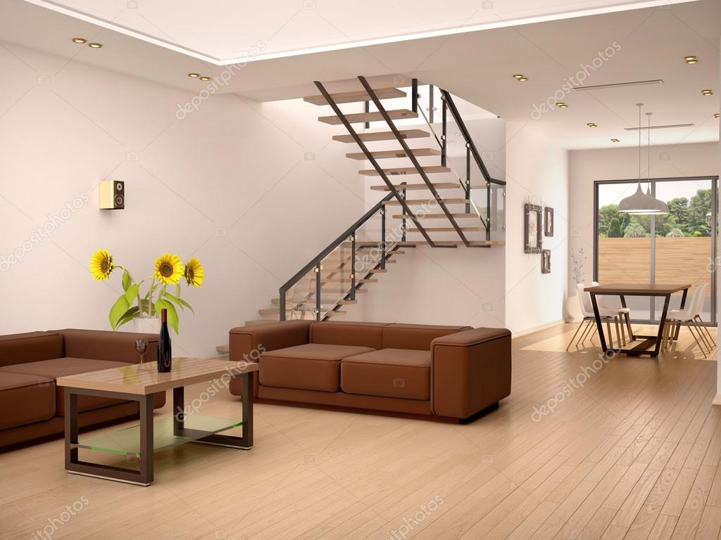 3d illustration of Stylish house interior with staircase