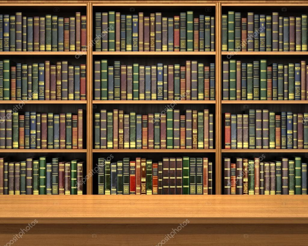 Bookshelf Pictures Mesa No Fundo Da Estante Cheia De Livros Antiga