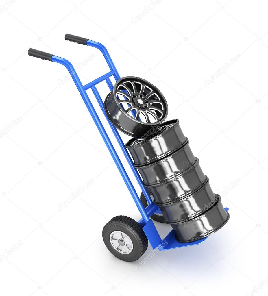 Carretilla de dos ruedas con llantas de coche fotos de - Ruedas de carretilla ...