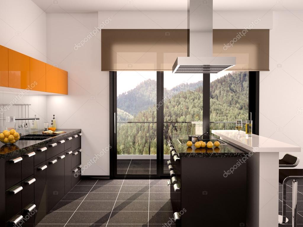 Cuisine Moderne Orange Avec Marbre Galaxie Noir - Maison Design ...