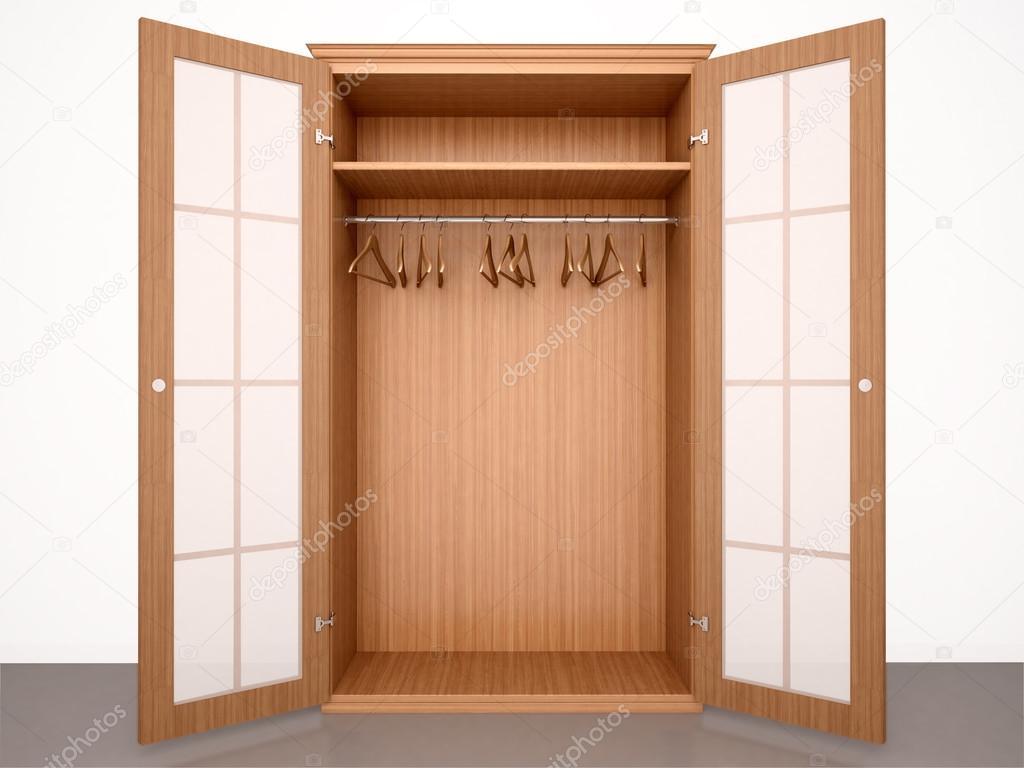 Adesivo De Cozinha ~ Ilustración 3D de armario vacío de madera abierto con colgadores y t u2014 Fotos de Stock u00a9 urfingus