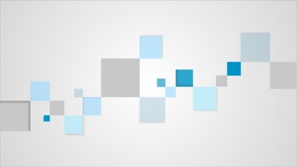 Video animace geometrického čtverce modré a šedé