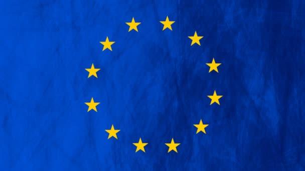 European union flag grunge video animation