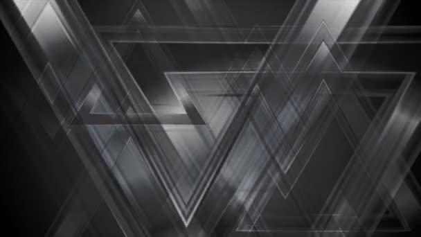 Černá abstraktní tech trojúhelníky video animace