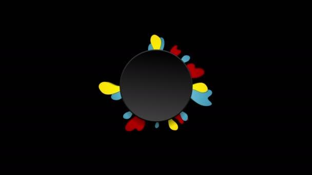 Barevný květ a černým kruhem video animace