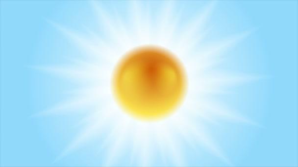 Jasně zářící slunce animace. Slunce na modré obloze
