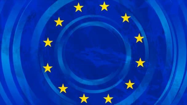 European union concept grunge flag motion design