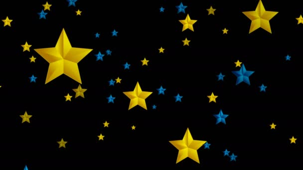 Blue and golden stars on black background video animation