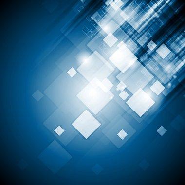 Bright blue tech squares background
