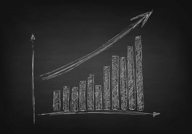 Growing graph with arrow on black chalkboard