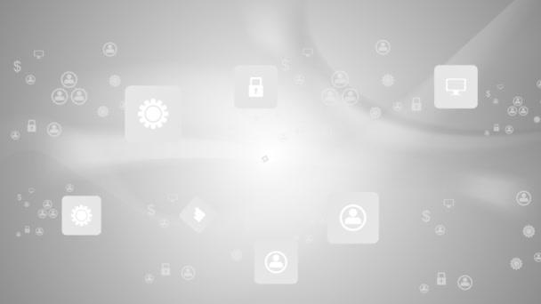 ikony na šedé animované pozadí