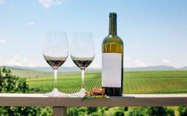 "Картина, постер, плакат, фотообои ""бутылка красного вина, виноградная лоза, бокалы и пробка на фоне виноградника"", артикул 504461894"