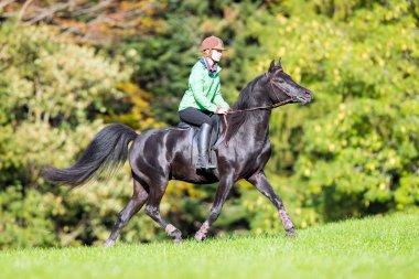 Young girl riding a black horse.