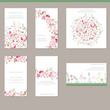 Floral spring templates with cute bunches of red tulips. For romantic and easter design, announcements, greeting cards, posters, advertisement.