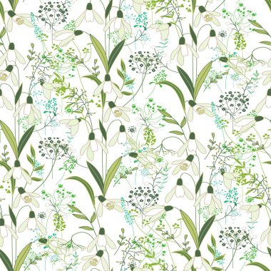 Seamless pattern with stylized cute white snowdrops.  Endless texture for your design, greeting cards, announcements, posters.