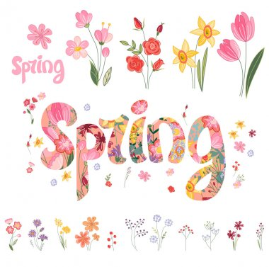Spring set. Phrase made of flowers, isolated objects. For your design, festive greeting cards,  , posters.