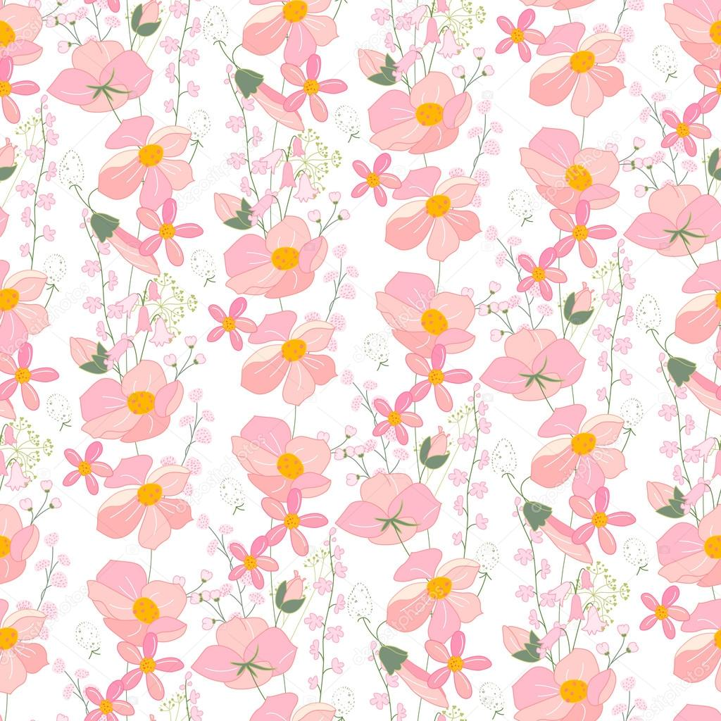 Seamless Pattern With Stylized Cute Pink Flowers Endless Texture