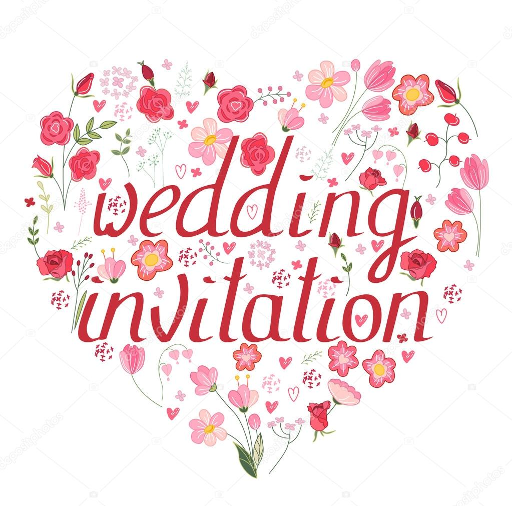 Shape heart made of stylized flowers and pink roses. Phrase Wedding ...