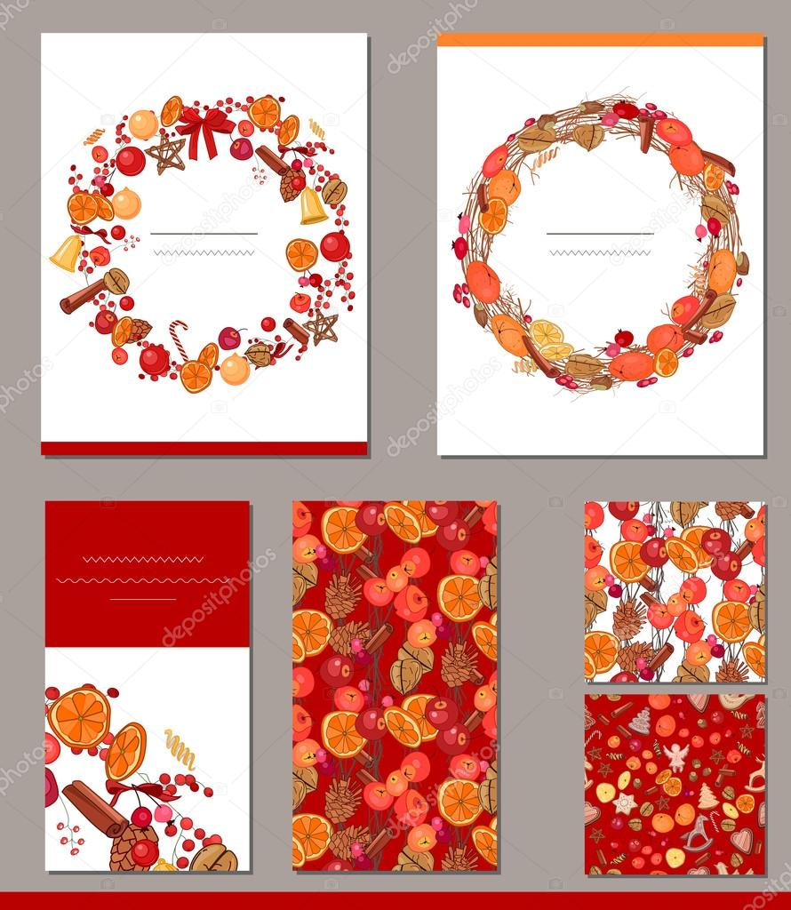 templates with different autumn fruits and berries for autumn and