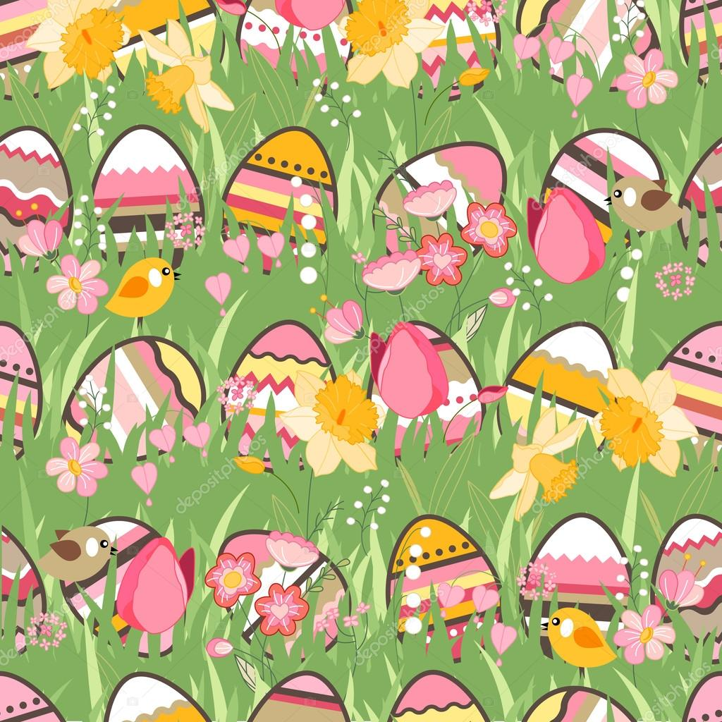 Festive spring seamless pattern. Endless texture with eggs on green grass. Painted eggs, spring flowers, tulips and birds. For your design, greeting cards,  wrappings, fabrics, announcements.