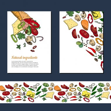 Template with ingredients for doner kebab wrap. Endless horizontal pattern brush with vegetables. For your design, announcements, cards, posters, restaurant and cafe menu. clip art vector