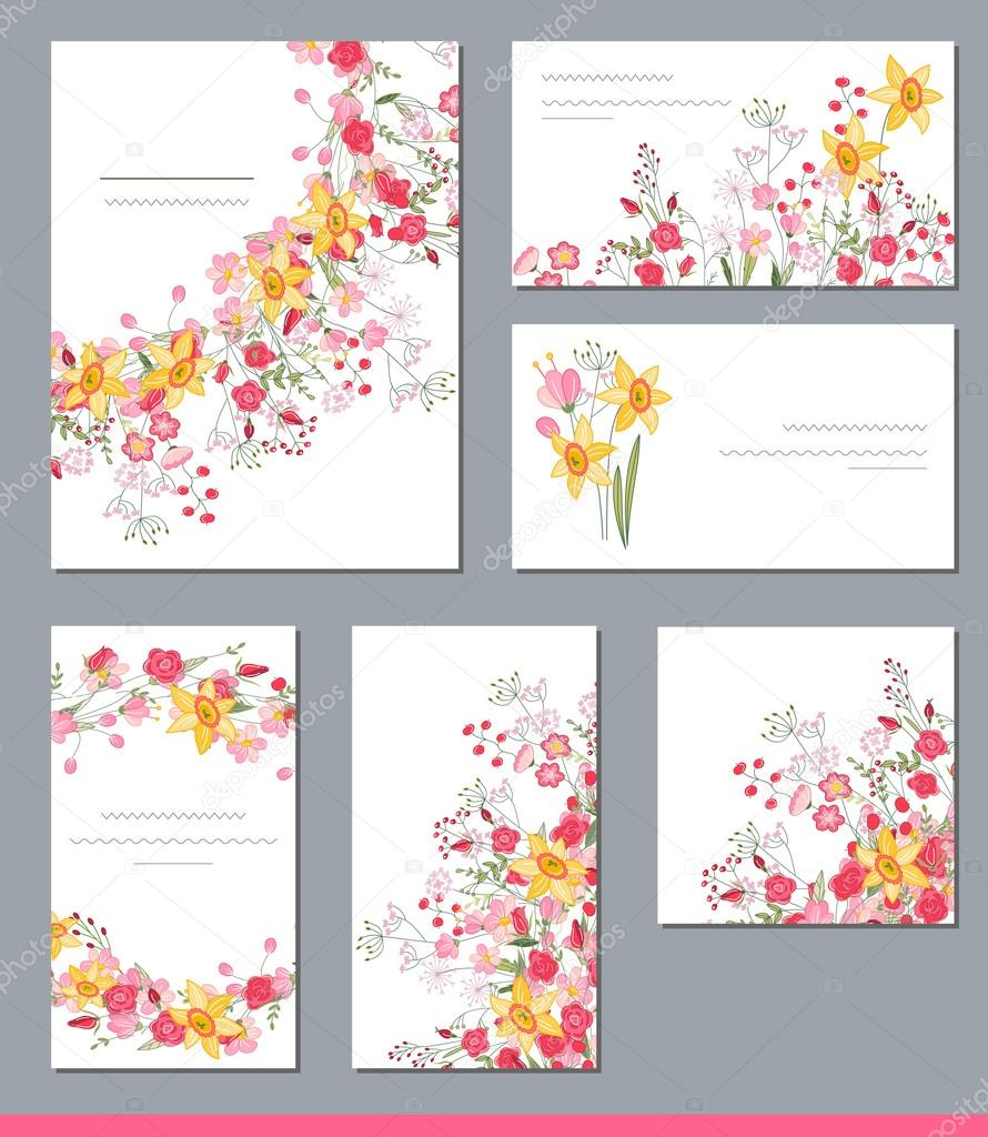 Floral spring templates with cute bunches of spring flowers for floral spring templates with cute bunches of spring flowers for romantic and easter design mightylinksfo