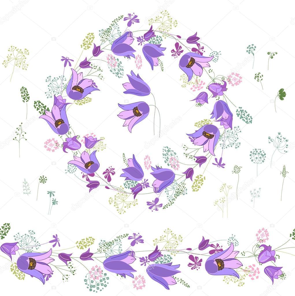 Marco Redondo Con Contornos Flores Azules Sobre Fondo Blanco Pincel