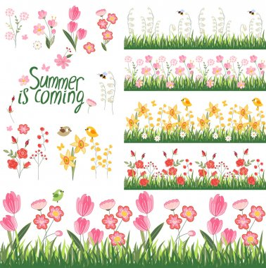 Festive spring and summer seamless pattern brushes. Endless horizontal borders with flowers on green grass. For your design, greeting cards,  wrappings, fabrics, announcements.