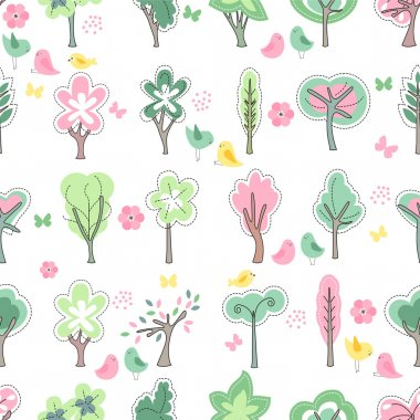 Festive spring seamless pattern. Endless texture with blossoming trees and birds. For your design, greeting cards,  wrappings, fabrics, announcements.