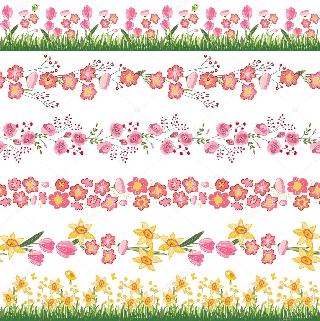 Festive spring seamless pattern brushes endless horizontal borders endless horizontal borders with flowers on green grassr your design greeting cards wrappings fabrics announcements nurrka vektr m4hsunfo