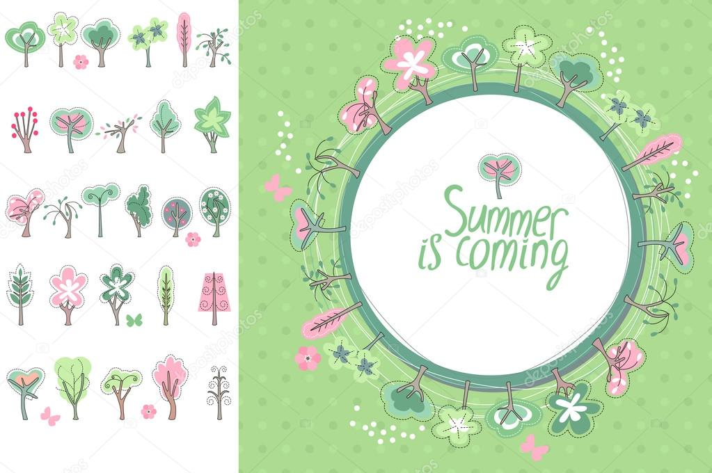 summer greeting card phrase summer is coming blossoming trees and