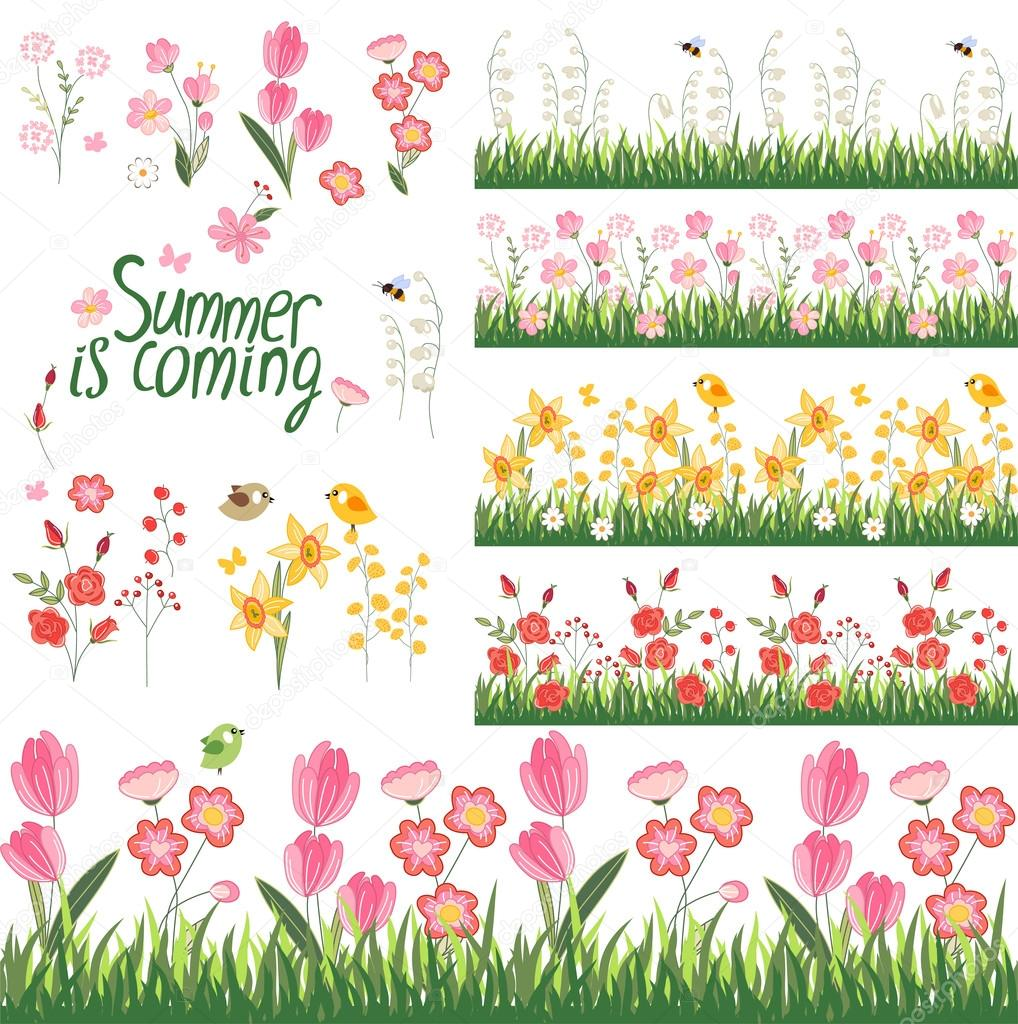 Festive spring and summer seamless pattern brushes endless endless horizontal borders with flowers on green grass for your design greeting cards wrappings fabrics announcements vetor de nurrka m4hsunfo