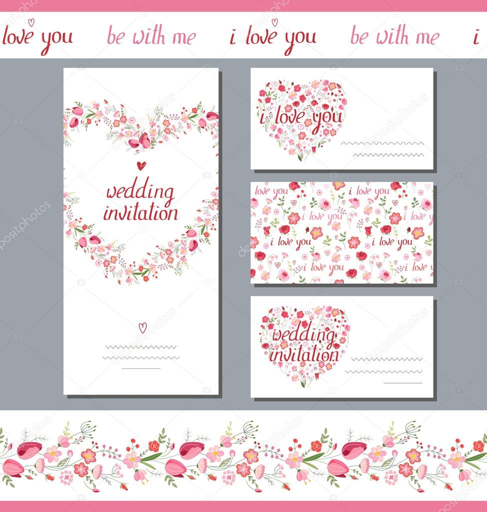 floral spring templates with cute bunches of red flowers endless