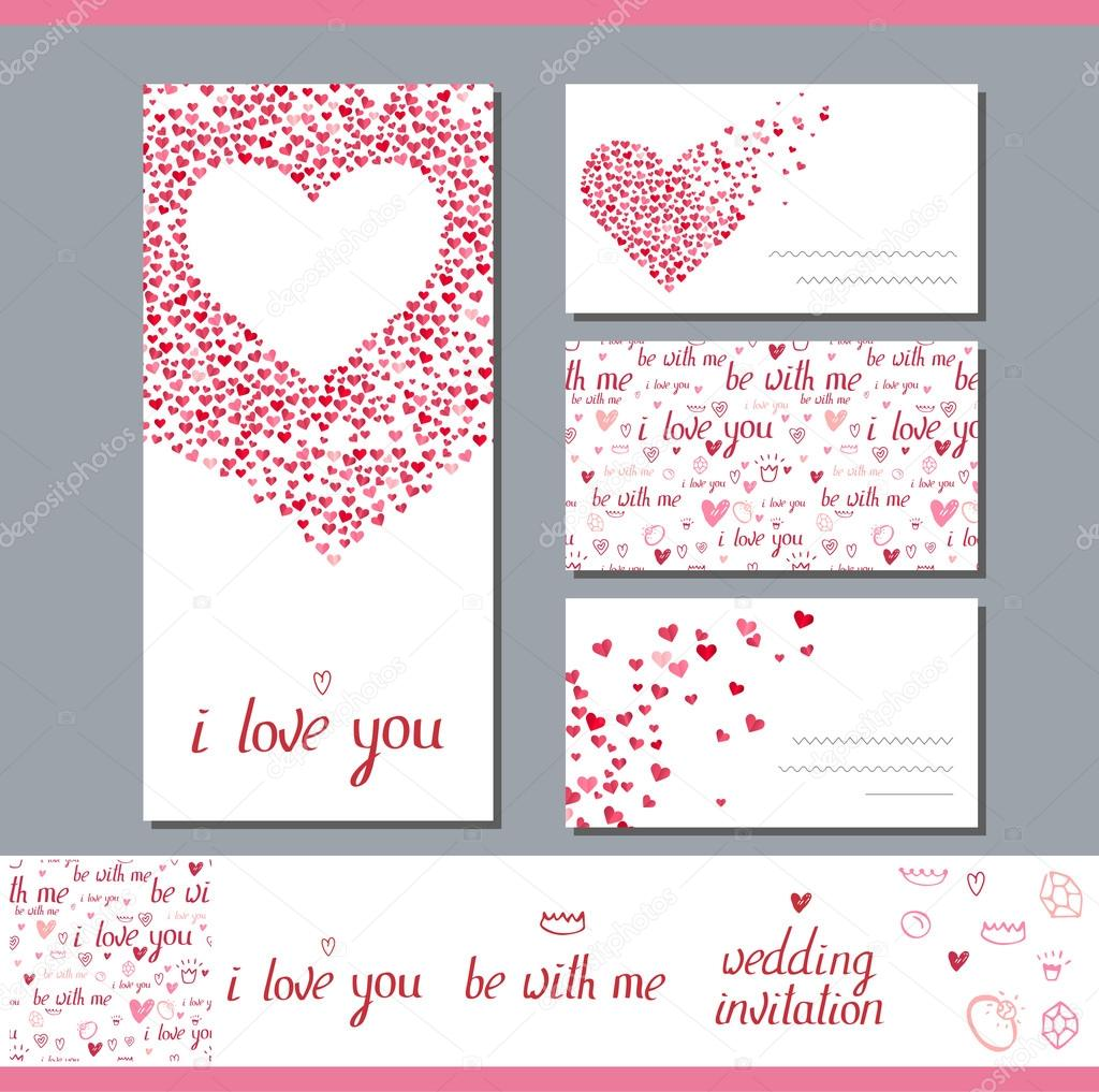 Templates with heart made of small ones. Phrase Wedding invitation ...