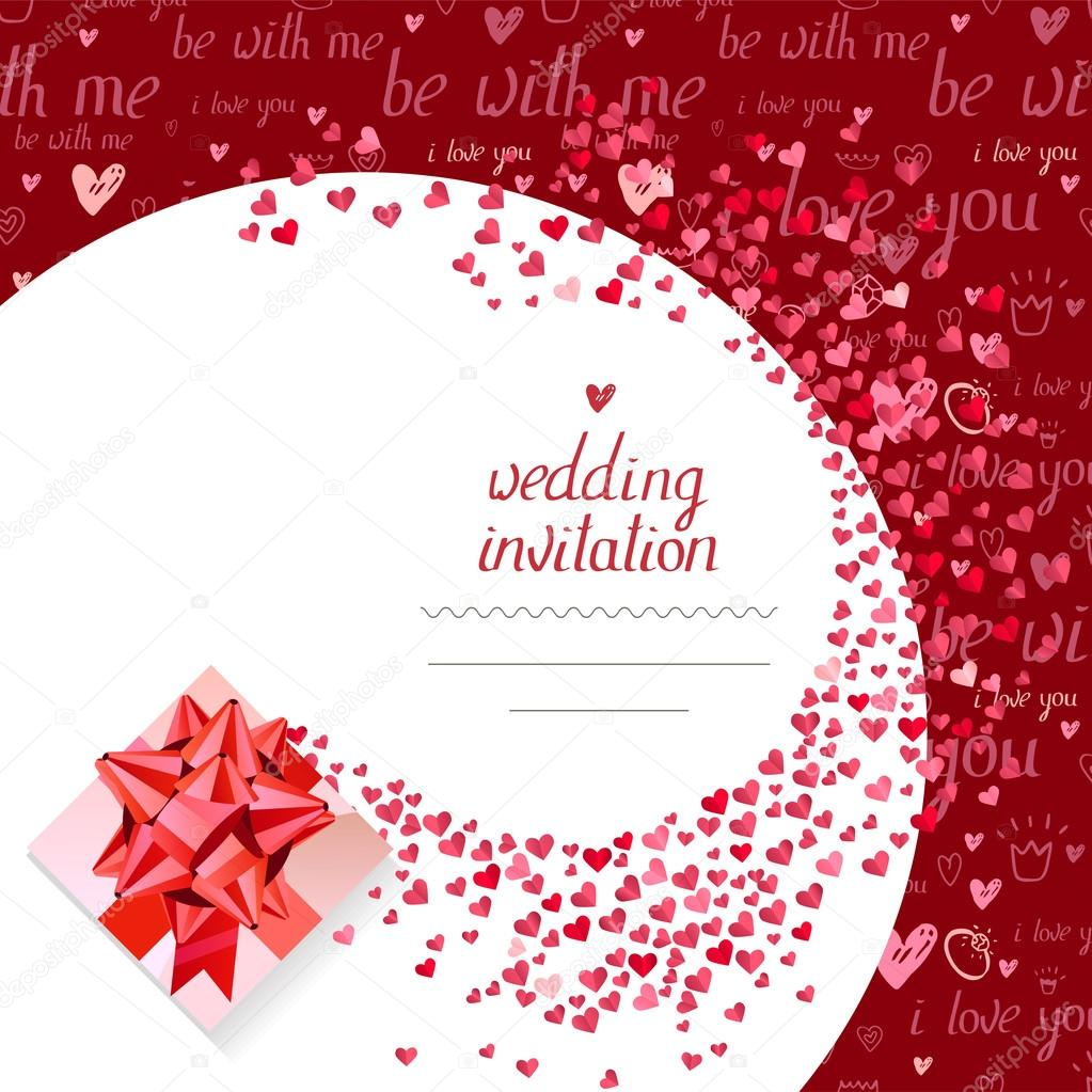 Templates With Gift Box And Small Hearts Phrase Wedding Invitation