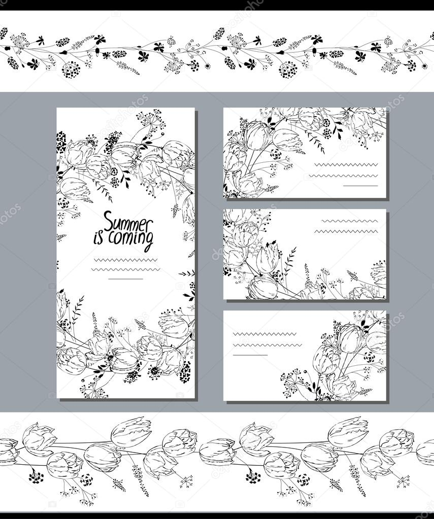 Black And White Template With Tulips Flowers For Romantic Design