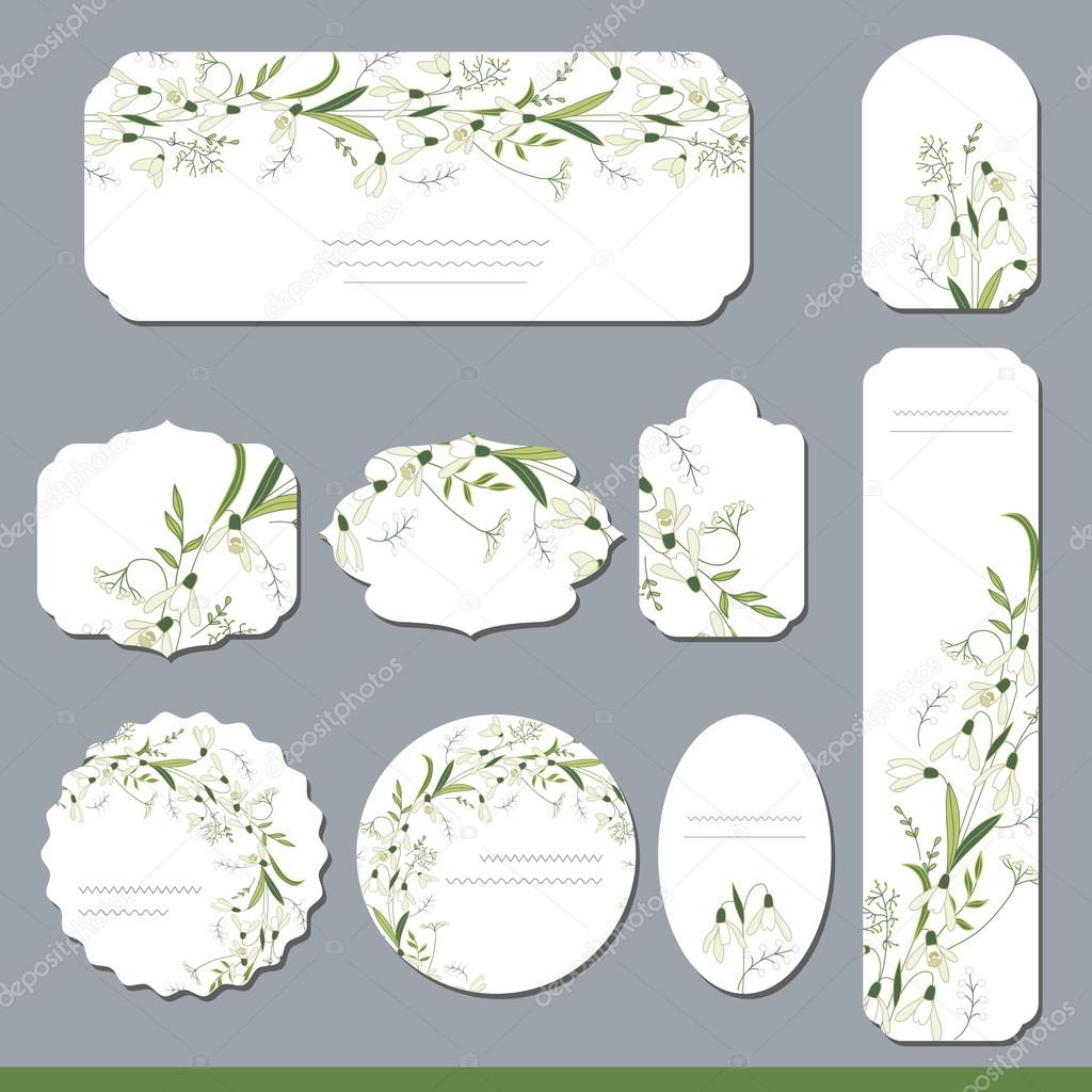 Collection With Different Floral Paper Labels For Announcements