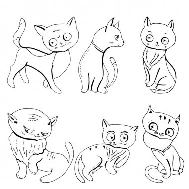 Collection with cute cats isolated on white icon
