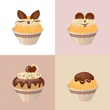 Detailed set with different muffins and birthday cakes icon