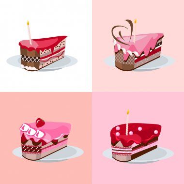 Set with different slices of birthday cakes icon