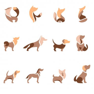 Stylized animals for domestic pet industry. Set with different abstract trendy dogs. Modern logotypes and symbols for your design projects. Flat style. icon