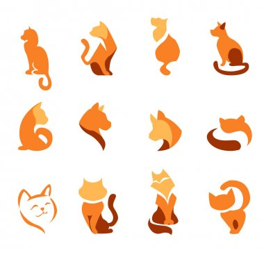 Stylized animals for domestic pet industry. Set with different abstract trendy cats. Modern logotypes and symbols for your design projects. Flat style. icon