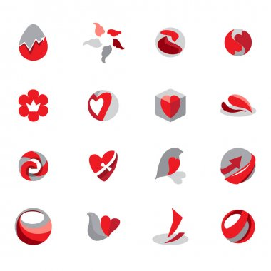 Stylized red, black and grey signs. Set with different abstract trendy symbols. Modern logotypes for your design projects. Flat style. icon