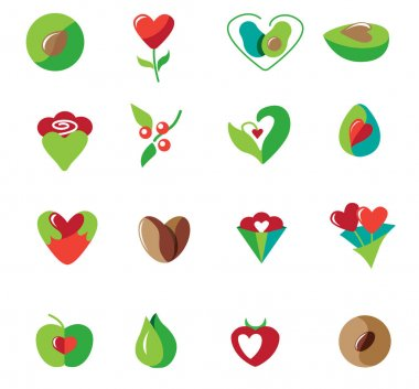 Stylized flowers, fruits and leaves. Set with different abstract trendy symbols. Modern eco logotypes for your design projects. Flat style. icon
