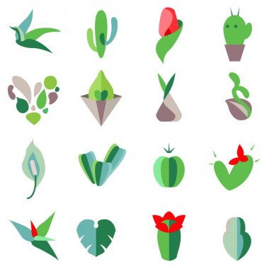 Stylized flowers and home plants. Set with different abstract trendy symbols. Modern eco logotypes for your design projects. Flat style. icon