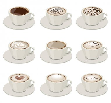 Set with different sorts of coffee in white crocery. Illustration with cups on white background can be used for restaurant and cafe menu. icon